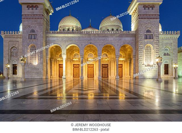 Al Saleh Mosque lit up at night, Sanaa, Yemen