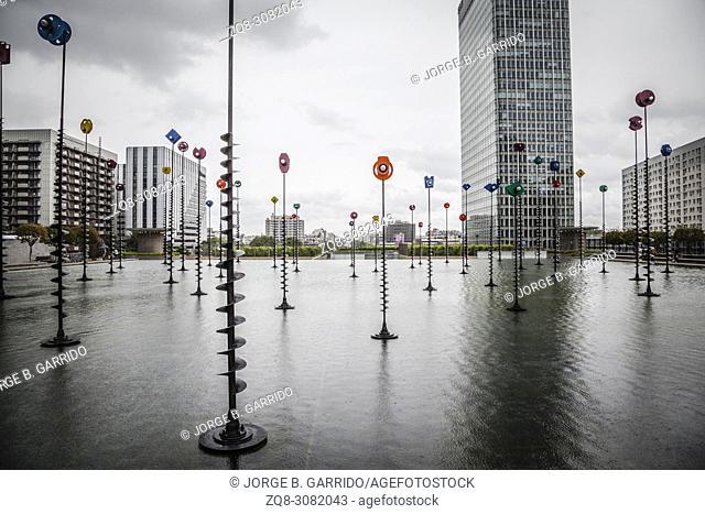 Takis Pool- sculpture, skyscraper in La Defense business district of the Paris, France