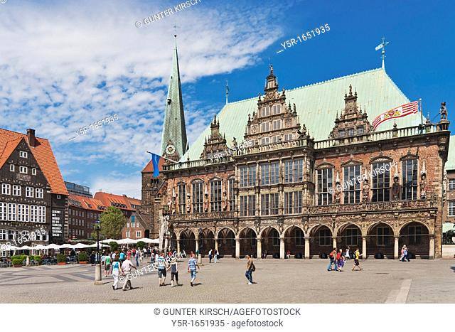 View over the marketplace of Bremen to the Church of Our Lady and the town hall The Bremen Town Hall is one of the most important monuments of the Gothic and...