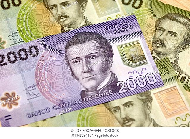 polymer plastic manuel rodriguez erdoyza on the 2000 chilean pesos banknotes