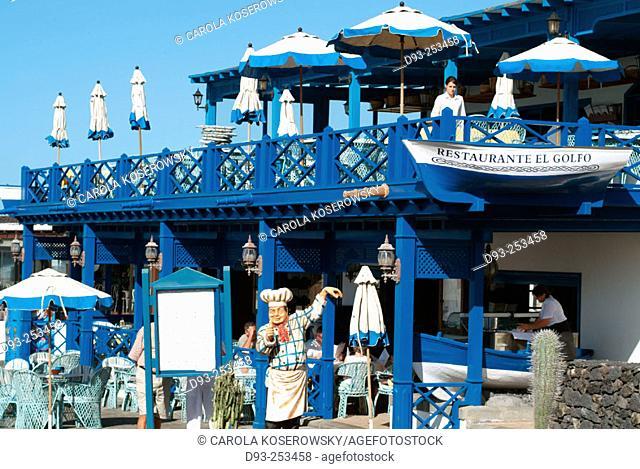 Restaurant at El Golfo. Lanzarote. Canary Islands. Spain
