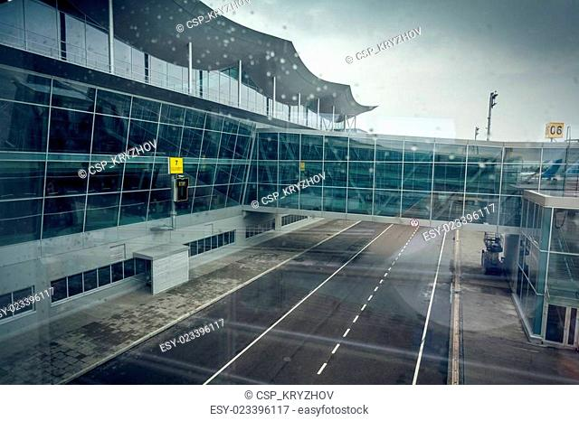 modern airport terminal in Kiev at cloudy day