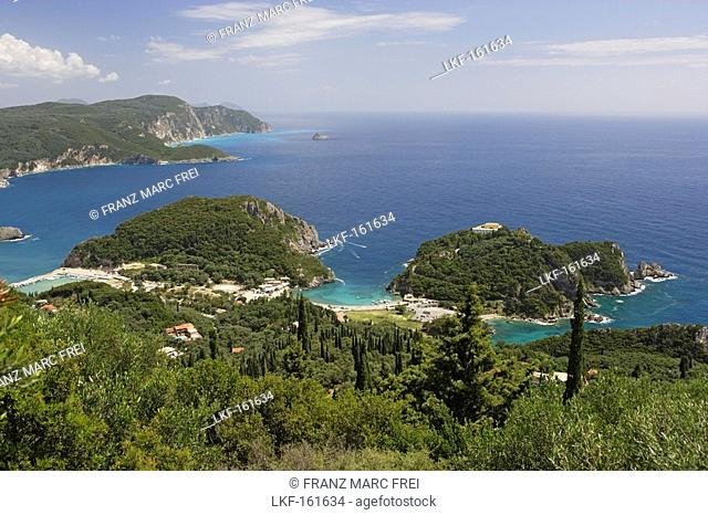 View at a small bay and the coast, Paleokastritsa, Corfu, Ionian Islands, Greece