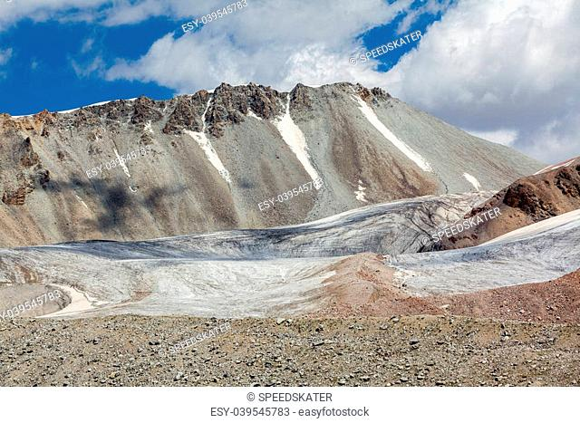 Ice glacier at Kok-Airyk pass in Kyrgyzstan. Tien Shan mountains