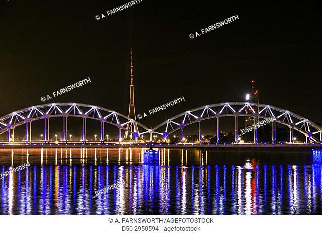 Riga, Latvia City views Railroad brifge lit up