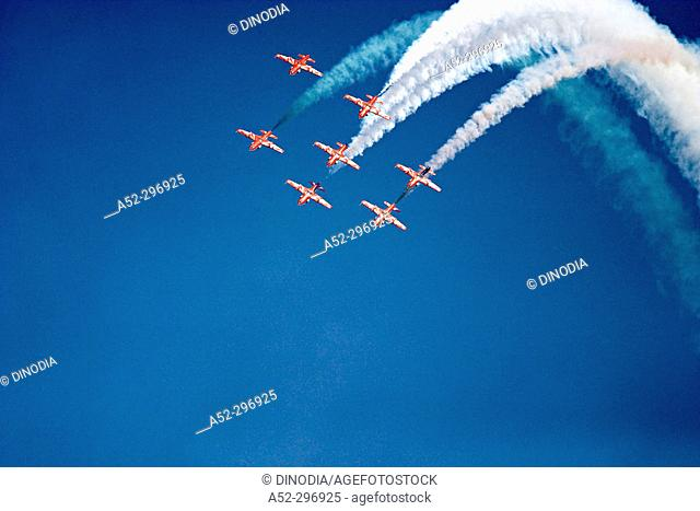 Surya Kiran, air aerobatics team of the Indian Air Force. Rajasthan, India