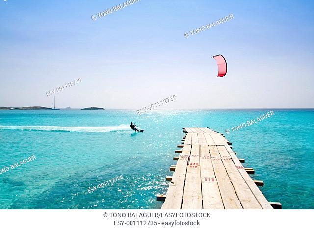 Formentera beach wood pier turquoise balearic Mediterranean paradise sea