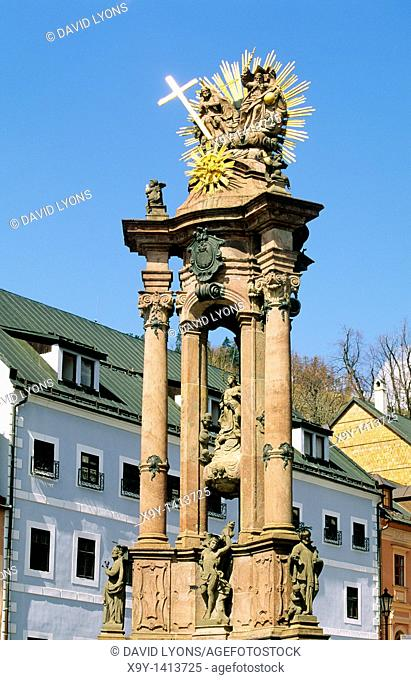 Banska Stiavnica, Slovakia Slovak Republic  Holy Trinity Column in Holy Trinity Square in gold mining town of Banska Stiavnica