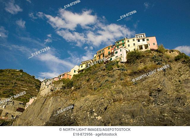 Italy, Cinque Terre, Riomaggiore.  Small town on the Italian Riviera.  One of the five villages on the famous Cinque Terre hiking trail