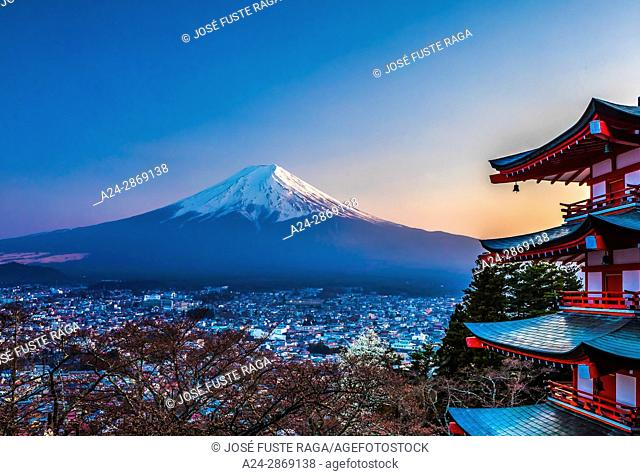 Japan, Fujiyoshida City, Churieto Pagoda, Mount Fuji