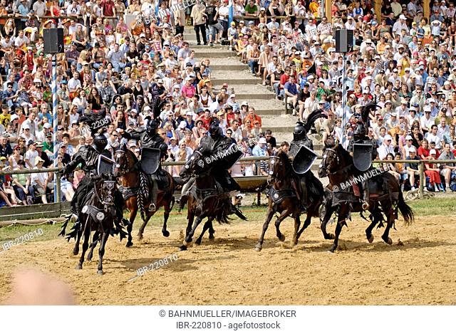 Kaltenberger Ritterspiele tournament of knights at Kaltenberg castle Upper Bavaria Germany black bad knight
