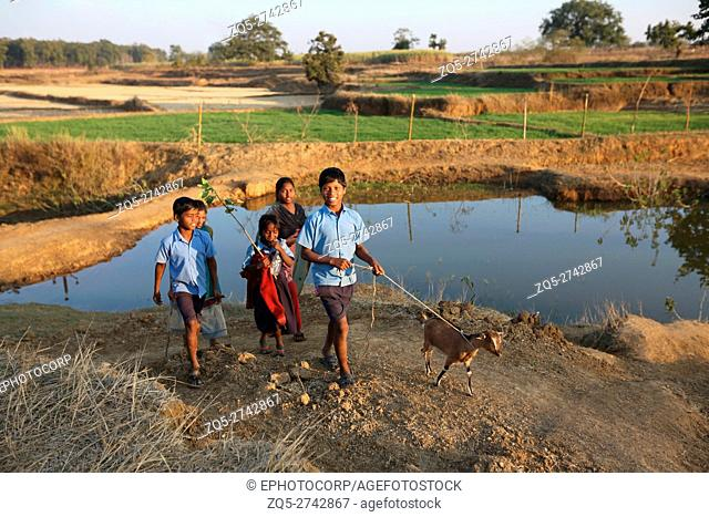 Children with goat, ORAON TRIBE, Purkela Village, Tahasil, Lundra, Dist, Sarguja, Chattisgarh, India