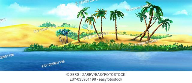 Digital painting of the view of the coast of Egypt from the Nile River
