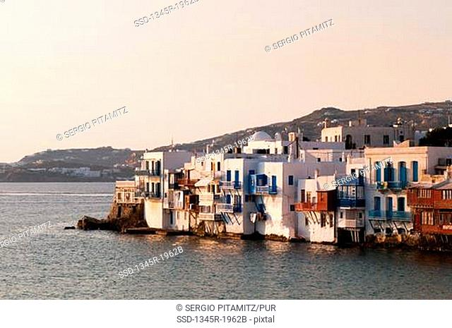 Buildings at the waterfront, Little Venice, Mykonos Town, Mykonos, Cyclades Islands, Greece