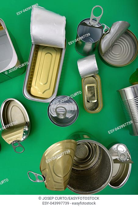 top view of tin can isolated on green