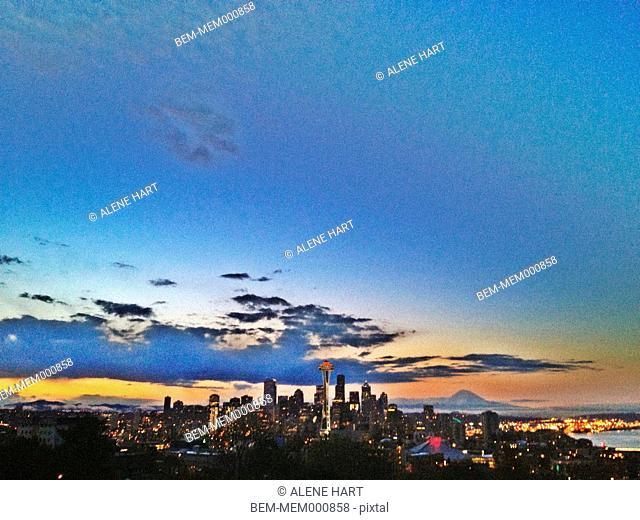 City skyline against colorful sky, Seattle, Washington, United States