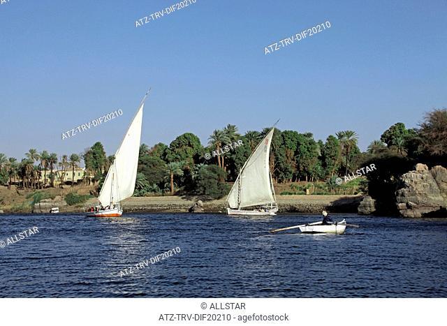 EGYPTIAN FELUCCAS & ROWING BOAT; RIVER NILE, ASWAN, EGYPT; 10/01/2013
