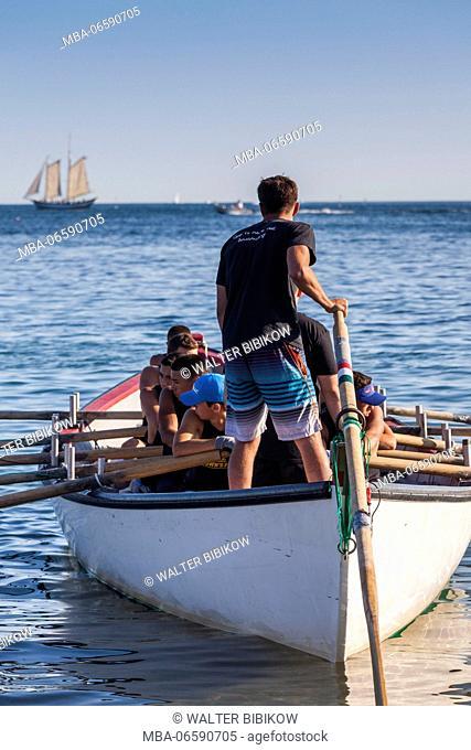 USA, Massachusetts, Cape Ann, Gloucester, St. Peter's Fiesta, Italian-Portuguese fishing community festival, Seine Boat Rowing Race