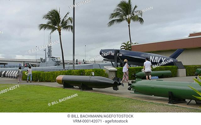 Honolulu, Hawaii Pearl Harbor Memorial war dead Japan bombing, old torpedos on display