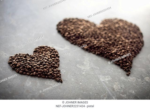 Heart made out of coffee beans
