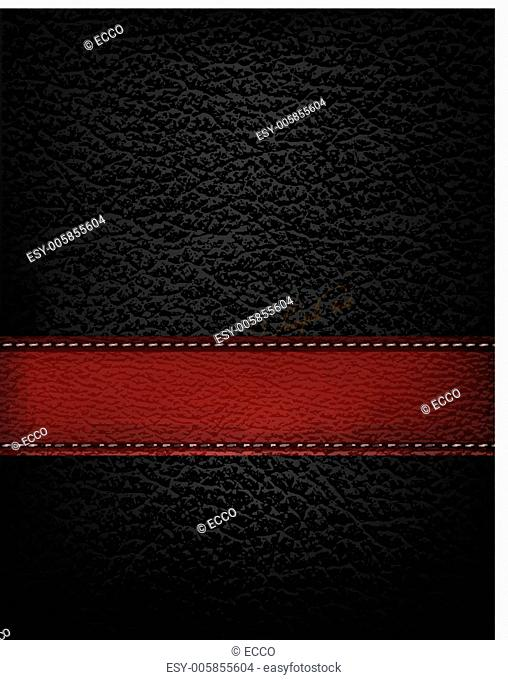 Black leather background with red leather strip. Vector illustra