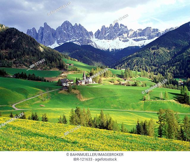St. Magdalena in the Villnößtal Villnoess valley under the Geislerspitzen Geisler peaks South Tyrol Italy Italia