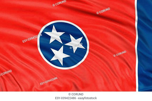 43fe057fa56 Rendering of flag of the US state of Tennessee with fabric texture. White  background