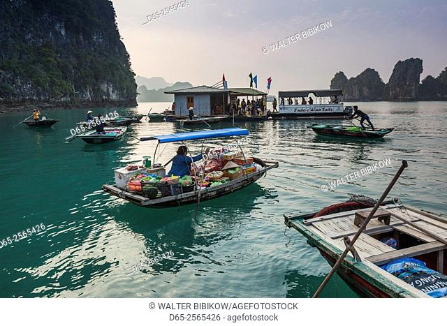 Vietnam, Halong Bay, floating fishing village, floating market