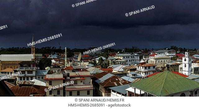 Tanzania, Zanzibar, Zanzibar City, Stone Town, listed as World Heritage by UNESCO, view of the roofs of Stonetown