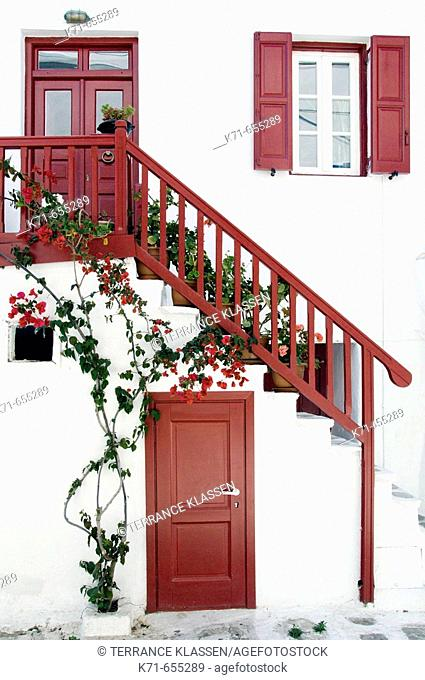 Greek architecture in the town of Hora on the Greek Island of Mykonos, Greece