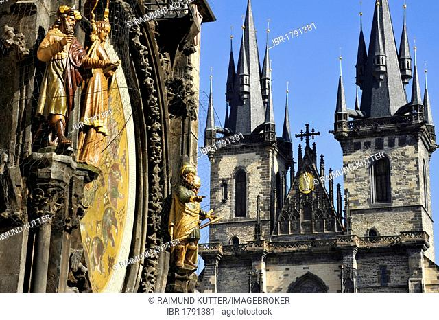 Allegorical statues on the Prague Astronomical Clock on the clock tower of the Old Town City Hall, Tyn Church, Old Town Square, historic district, Prague