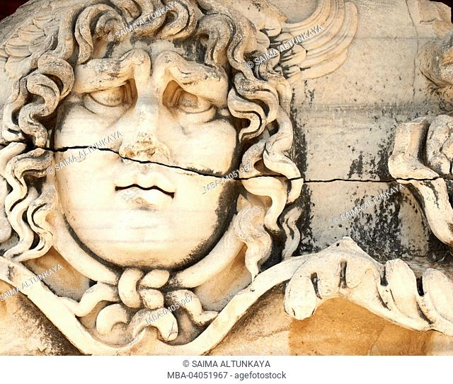 Medusa Gorgona on ruins of Apollo temple in Didim