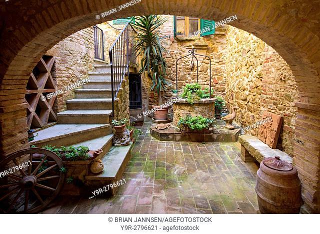 Courtyard entrance to home in Castelmuzio, Tuscany, Italy