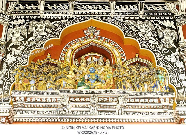 Ramar Pattabhishekam coronation ceremony and miniature designs delicate fresco painted wall at Nayaks Darbar Hall , Thanjavur palace , Thanjavur , Tamil Nadu