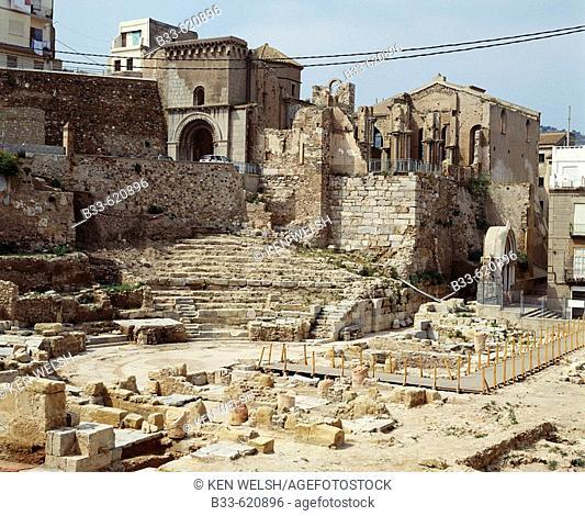 Ruins of Roman theatre, Cartagena. Murcia, Spain