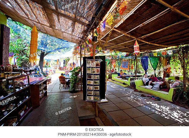 Tourists in a restaurant, German Bakery, Anjuna, North Goa, Goa, India