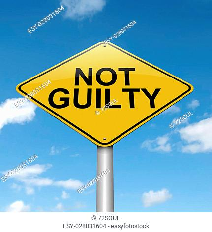 Illustration depicting a roadsign with a not guilty concept. Blue sky background