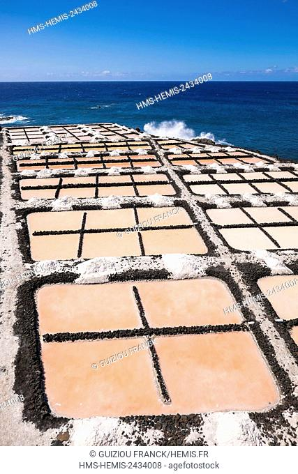 Spain, Canary Islands, La Palma island declared a Biosphere Reserve by UNESCO, Fuencaliente, the extreme south of the island, salt works in former lava flows