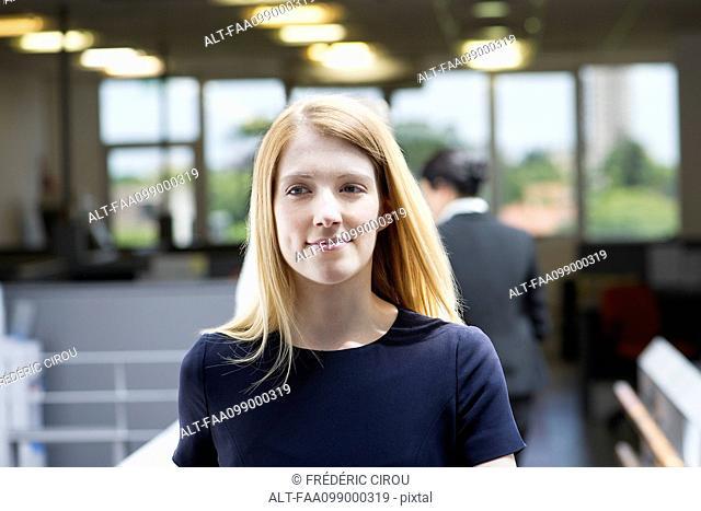 Young woman beginning internship, portrait