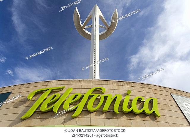 Communications tower over Telefonica logo sign, olympic area, park montjuic, Barcelona
