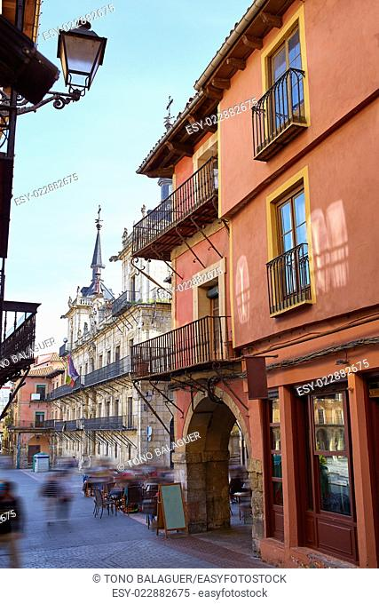 Leon downtown street by the way of Saint James at Castilla Spain