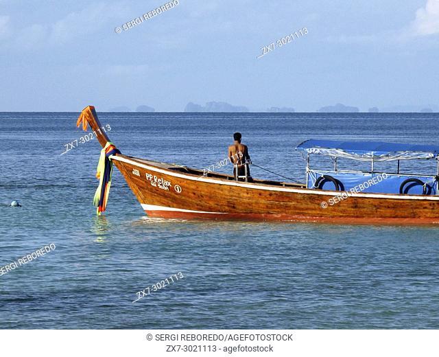 Phi Phi don island. Relax Beach. Phak Nam Bay. Thailand. Asia. Phi Phi Don island. Krabi province, Andaman Sea, Thailand