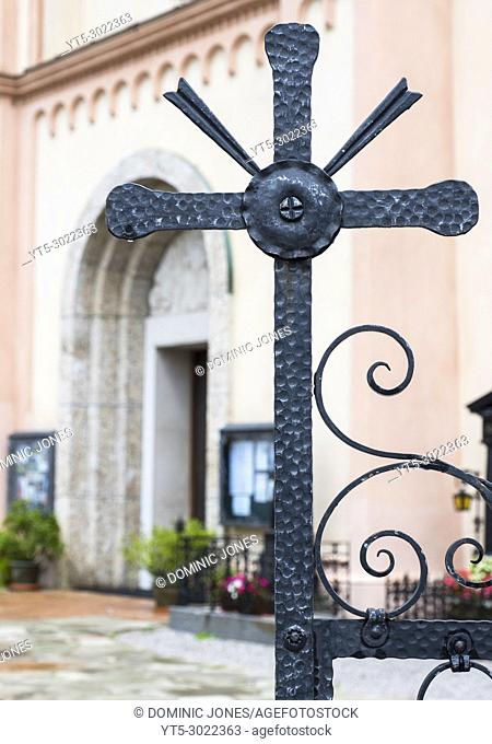 Gate cross detail of Radstadt Church, Radstadt, Austria, Europe