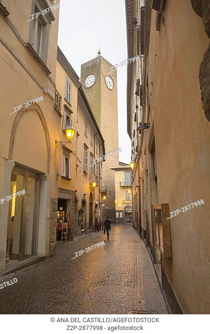 Medieval street in the old town of Orvieto in Umbria Italy on February 6, 2017 Tower of moro