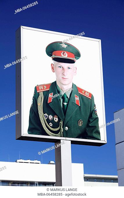 Portrait of a Russian soldier, checkpoint Charlie, Berlin, Germany