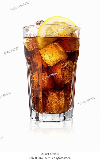 A glass of coke (Cola) with ice cubes and lemon slice isolated on white background. Taken in Studio