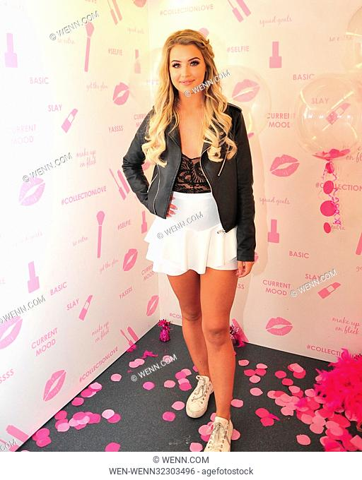 Love Island stars Gabby Allen, Olivia Buckland and Tina Stinnes take part in a photocall with COLLECTION Cosmetics to celebrate the high-street make-up brands...