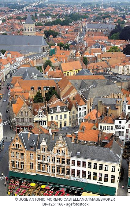 Markt, Market Place, view from the Belfry, Bruges, West Flanders, Belgium, Europe