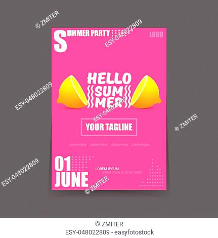 Vector Hello Summer Beach Party vertical poster Design template or mock up with fresh lemon on pink background. Hello summer concept label or flyer with orange...