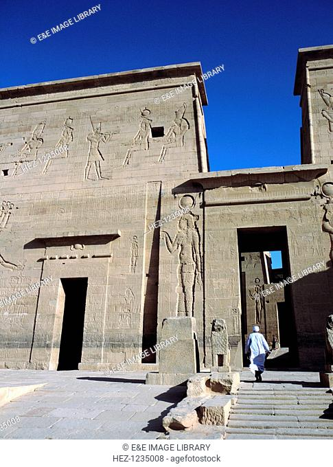 Gate of Ptolemy, Temple of Philae, Egypt. One of the buildings at the Ancient Egyptian site of Philae. The temples were dismantled in the 1970s and rebuilt on a...